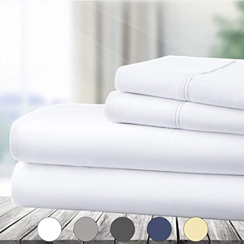 Wrinkle Fade Stain Resistant Deep Pocket Extra Soft 1800 Brushed Microfiber Sheets Set Luxury Comfortable Breathable 3 Piece Bedding Sheets White VEEYOO Twin Size Bed Sheets Set