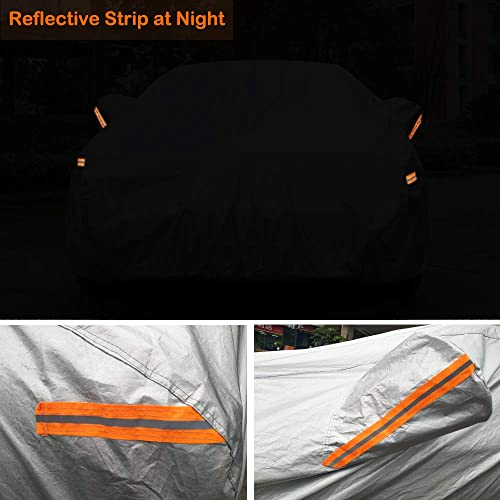 6 Layers All Weather Protection Waterproof//Windproof//Scratch Resistant//Reflective Strips for Sedan Wagon Use Universal Full Car Covers with Zipper Door 177-191 CARBABA Car Cover