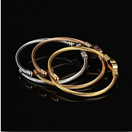 Stainless Steel Magnetic Clasp Hart Charm Cubic Zircon Anniversary Valentine Bangle Bracelet