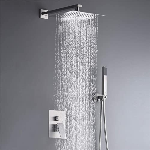 Single Function Shower Trim Kit with Rough-in Valve Bathroom Luxury Rain Shower Set Bath Rainfall Shower System with Square Stainless Steel Metal Showerhead HEABLE Shower Faucet Set Chrome