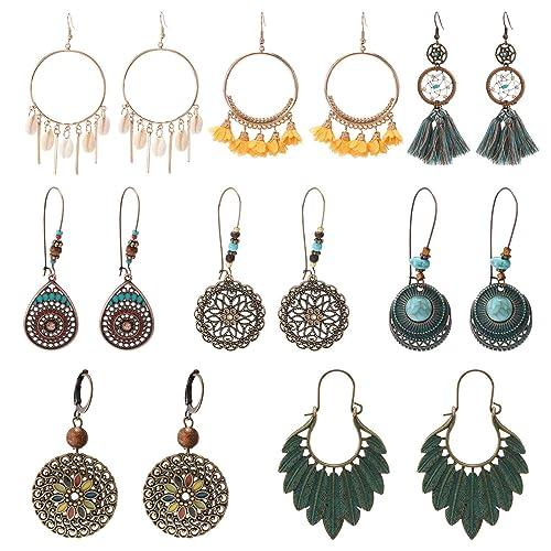 35dc50dae8e8e SBJIOAK Multi Pairs Bohemian Vintage Drop Dangle Earrings for Women Girls  Earrings Set Boho Earrings