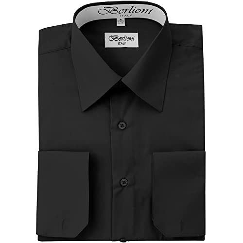 Colors Gentlemens Collection Men/'s Slim Fit French Cuff Solid Dress Shirt