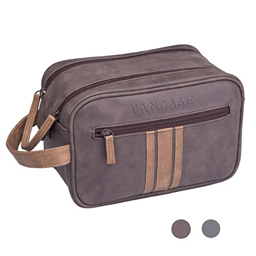 Mens Canvas Toiletry Bag Vintage Men Shaving Dopp Kit Bathroom Kits Bags with Double Compartments for Travel Brown