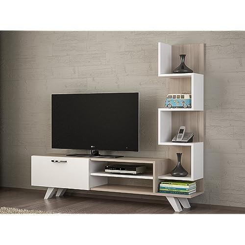 White Lusi 71 TV Stand Entertainment Center Decorotika